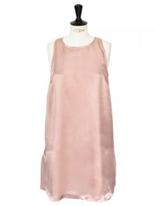 TARA JARMON Robe sans manches en satin viscose vieux rose Px boutique 220€ Taille 38