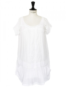 White cotton veil embroidered mini dress Retail price €180 Size 36