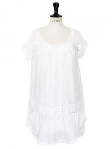 Mini robe en voile de coton ajouré blanc Px boutique 180€ Taille 36