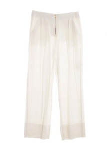 Exposed zip white fluid front pleat pants NEW Retail price €1100 Size 40