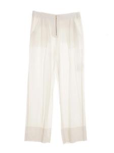 Pantalon à pli en jersey fluide blanc et fermeture éclair dorée NEUF Px boutique 1100€ Taille 40