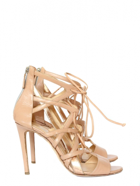 BOOMERANG Nude beige leather stiletto sandals Retail price €1180 Size 40
