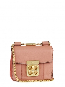 CHLOE Light pink and coral red leather mini ELSIE cross body bag Retail price €850