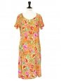 Red orange and pink floral print short sleeves dress Size 36/38