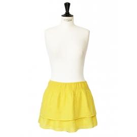 Jupe courte en coton plumetis jaune canari Taille 36/38