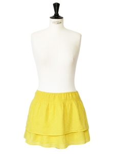 Yellow Swiss-dot cotton mini skirt Size 38/40