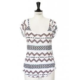 T-shirt manches courtes blanc imprimé aztèque Taille 36