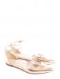 Chaussures plates bout pointu et bride cheville en cuir métallisé doré Px boutique 600€ Taille 40,5