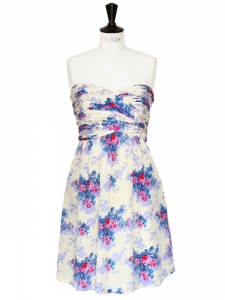 PAUL & JOE Floral print ecru silk strapless dress Size 38