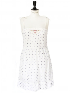 PAUL & JOE SISTER White light cotton embroidered with purple polka dots and colorful flowers dress Size 36