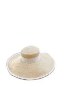 Straw floppy hat with off white ribbon Size XS