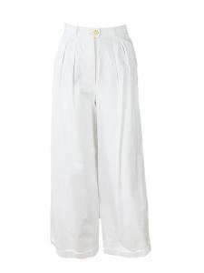 Pantalon taille haute coupe large en coton blanc Px boutique 1900€ Taille 34