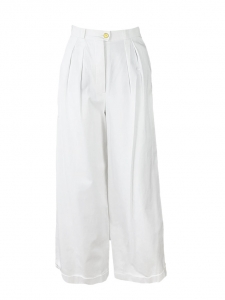 White cotton wide leg high waisted pants Retail price €1900 Size 34