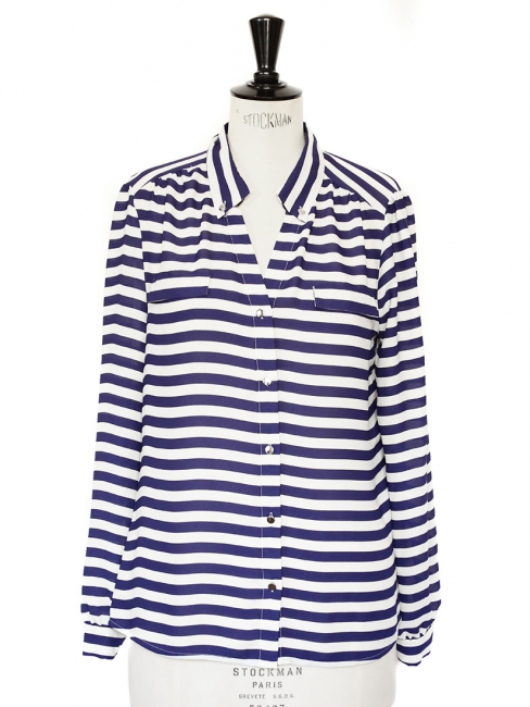 Navy blue and white striped long sleeves shirt Size 36/38