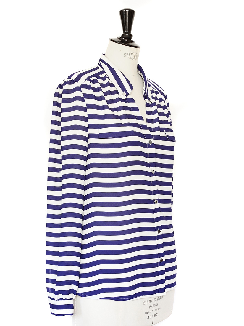 Louise paris navy blue and white striped long sleeves for Blue and white long sleeve shirt