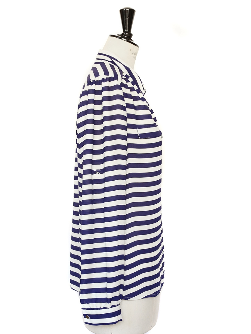 louise paris chemise manches longues ray e bleu marine et blanche taille 36 38. Black Bedroom Furniture Sets. Home Design Ideas