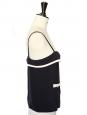 Top en soie noire et crème avec boutons dorés Px boutique 800€ Taille 36