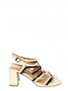 Sandales en cuir découpé crème et noir NEUVES Px boutique 275€ Taille 39