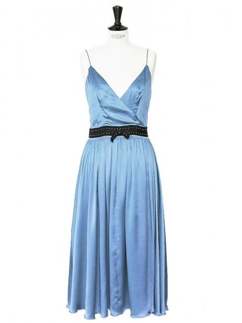 Light blue silk satin mid-length dress Retail price €2000 Size 38