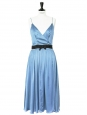 Light blue silk satin mid-length dress Retail price €2000 Size 38