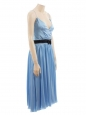 Robe de soirée en satin de soie bleu clair ceinture cristal Px boutique 2000€ Taille 38