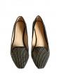 Chaussures plates mocassins en suède noir et studs dorés Taille 36