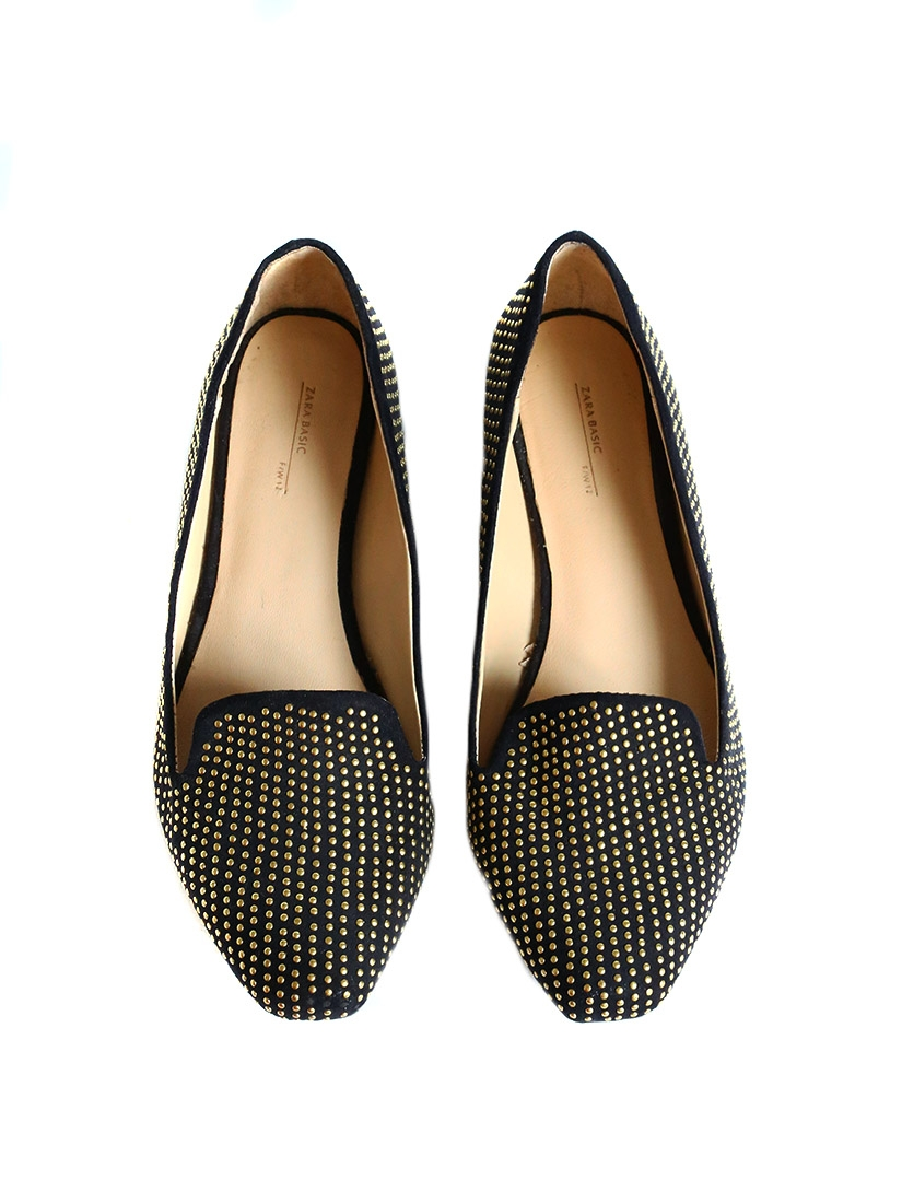 Louise Paris Zara Black Suede And Golden Studs Flat