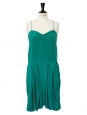 Emerald green silk spaghetti straps dress Retail price €850 Size 34/36