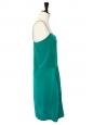 Robe à bretelles fines en soie vert émeraude Px boutique 850€ Taille 36