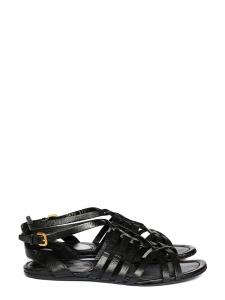 Sandales plates Gladiator en cuir noir Px boutique 550€ Taille 39