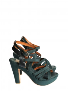 4d294dddf5ad LANVIN · Dark green gros grain and leather wedge heeled sandals Retail price  €550 Size 36