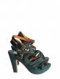 Dark green gros grain and leather wedge heeled sandals Retail price €550 Size 36