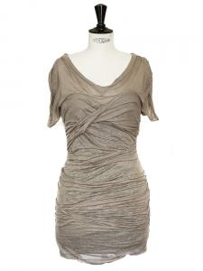 Robe ESTA drapée en lin beige kaki Px boutique 450€ Taille 36
