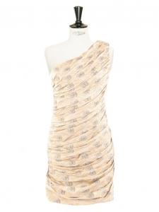Metallic fil coupé silk one shoulder cocktail dress Retail price €1800 Size 36
