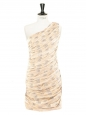 Gold and silver brocade silk one shoulder Couture cocktail dress Retail price €1800 Size 34