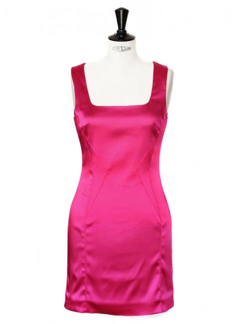 Robe près du corps en satin de soie stretch rose fuchsia Px boutique 415€ Taille 36/38