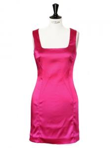 DOLCE & GABBANA Fuchsia pink stretch satin mini dress Retail price €415 Size 36/38
