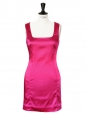 Fuchsia pink stretch satin mini dress Retail price €415 Size 36/38