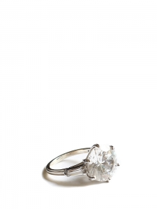 Crystal solitaire silver ring