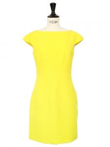 Robe structurée en jersey stretch jaune fluo Px boutique 800€ Taille 36