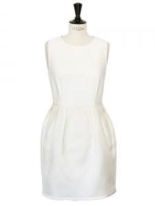 Robe sans manches bimatière en coton et rayon blanc Px boutique 700€ Taille 38