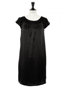 Black satin silk ample dress Retail price €1000 Size 36