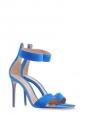 Sandales à talon en suède bleu roi et bride cheville NEUVES Px boutique 629€ Taille 38,5
