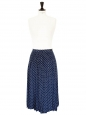 Navy blue silk with white polka dots pleated long skirt Size 36/38