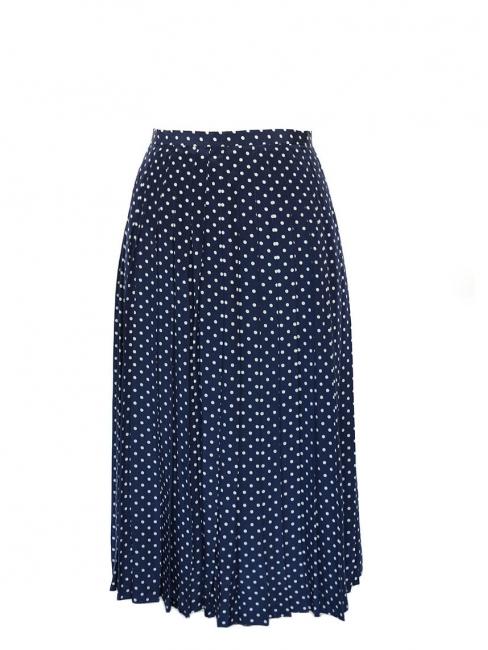 Jupe longue taille haute en soie plissée bleu marine et pois blancs Taille 36
