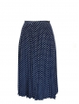 Navy blue and white polka dot print pleated long skirt Size 36