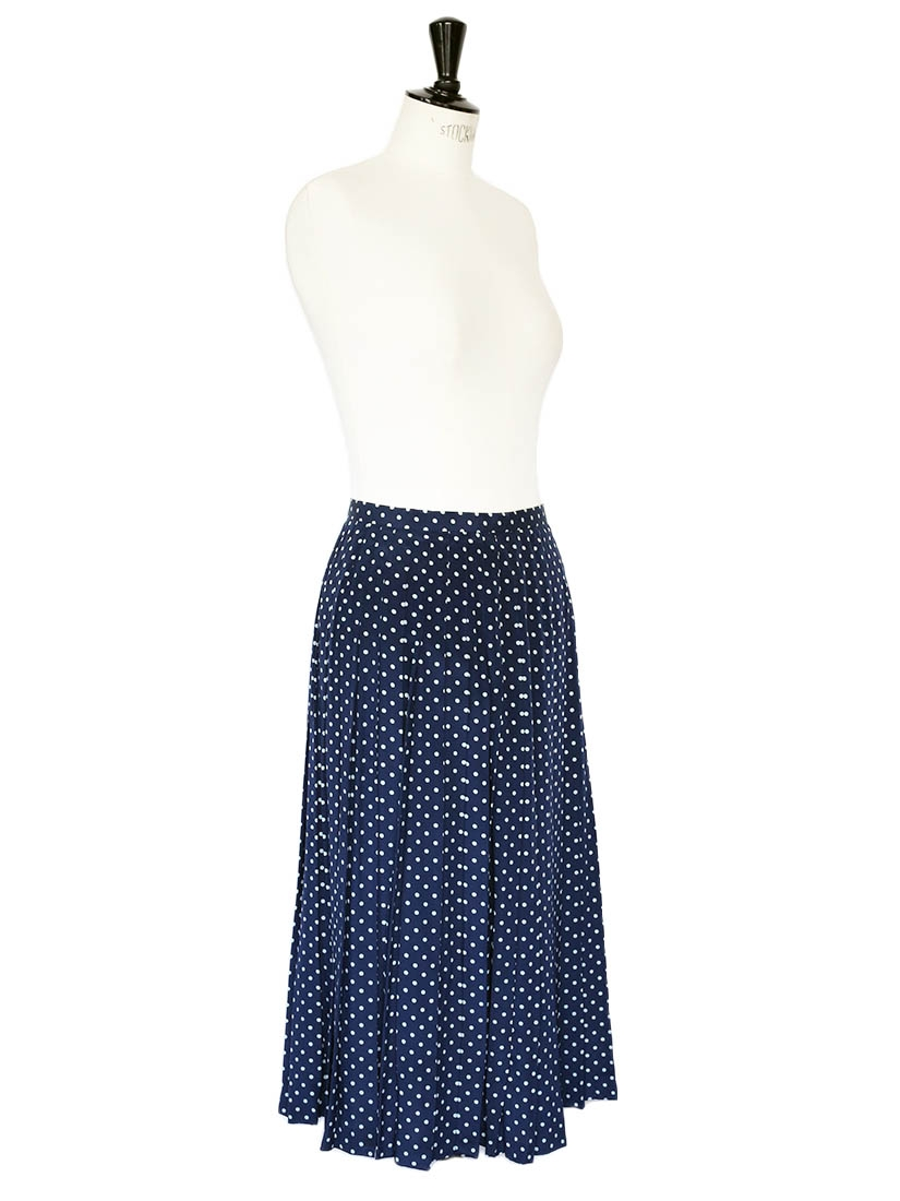 louise vintage navy blue silk with white polka