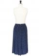Jupe longue en soie plissée bleu marine et pois blancs Taille 36/38