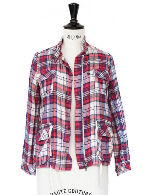 Veste en coton imprimé carreaux écossais rouge bleu et blanc Taille 34
