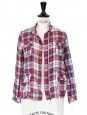Blue light red and white check print plaid cotton jacket Size 34/36